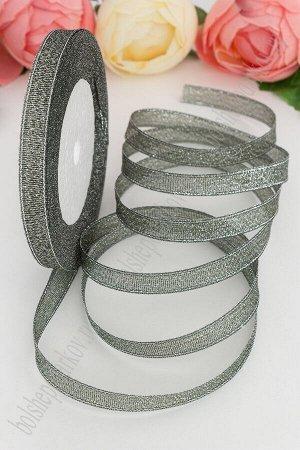 Лента парча 1 см*20 ярд темно-зеленый с серебром
