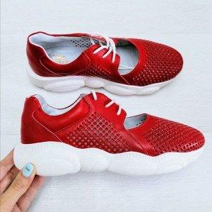 Кожаные кроссовки TED DREAM красный-1083