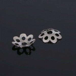 Шапочки для бусин (набор 100шт), СМ-002, 1,6х7,5 мм, цвет серебро