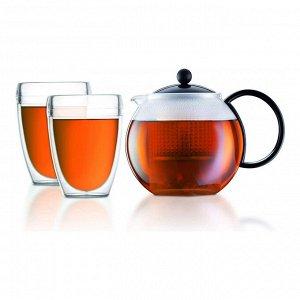 Набор чайный Assam 3 предмета (чайник заварочный с прессом Assam 1 л. чёрный, набор термобокалов Pavina Outdoor 0.35 л. - 2 шт.)