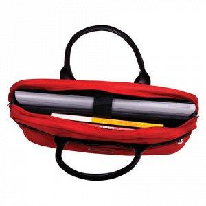"""Сумка деловая BRAUBERG с отделением для ноутбука 15,6"""", """"Dialog"""", 3 кармана, красная, 40х30х7 см, 240462"""