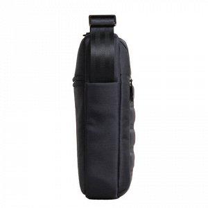 "Сумка компактная BRAUBERG с плечевым ремнем, ""Patrol"", 2 кармана, черная, 26,5x22x5,5 см, 240500"