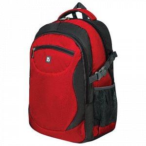 """Рюкзак для школы и офиса BRAUBERG """"StreetBall 2"""", 30 л, размер 48х34х18 см, ткань, серо-красный, 224452"""