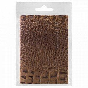 """Обложка для паспорта натуральная кожа лаковая, """"PASSPORT"""", светло-коричневая, BRAUBERG, 237197"""