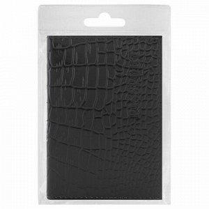 """Обложка для паспорта натуральная кожа крокодил, """"PASSPORT"""", черная, BRAUBERG, 237185"""