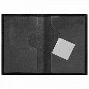 """Обложка для паспорта натуральная кожа галант, """"PASSPORT"""", черная, BRAUBERG, 237179"""