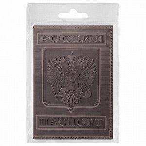 """Обложка для паспорта натуральная кожа гладкая, """"Герб"""", вертикальная, коньяк, BRAUBERG, 237190"""