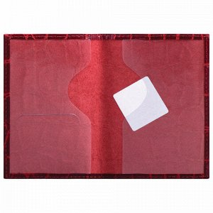 """Обложка для паспорта натуральная кожа Croc, """"PASSPORT"""", красная, BRAUBERG, 237180"""