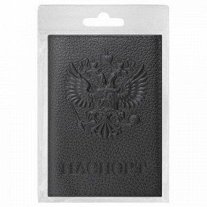 """Обложка для паспорта натуральная кожа флоттер, """"Герб"""", черная, BRAUBERG, 237198"""