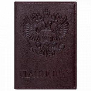 """Обложка для паспорта натуральная кожа """"Virginia"""", """"Герб"""", темно-бордовая, BRAUBERG, 237199"""