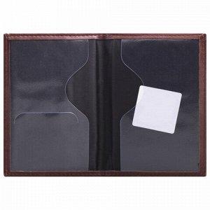 """Обложка для паспорта STAFF """"Profit"""", экокожа, мягкая изолоновая вставка, """"PASSPORT"""", коричневая, 237184"""