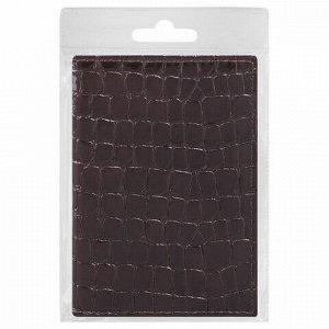 """Обложка для паспорта STAFF """"Profit"""", экокожа крокодил, мягкая вставка, коричневая, 237201"""