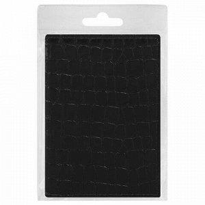 """Обложка для паспорта STAFF """"Profit"""", экокожа крокодил, мягкая изолоновая вставка, черная, 237200"""