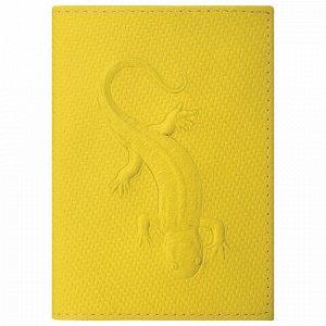 """Обложка для паспорта натуральная кожа плетенка, с ящерицей, желтая, STAFF """"Profit"""", 237205"""
