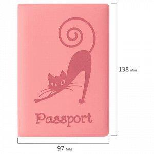 """Обложка для паспорта STAFF, мягкий полиуретан, """"Кошка"""", персиковая, 237615"""