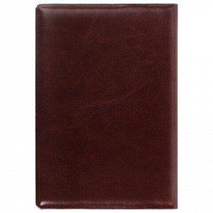 """Обложка для паспорта STAFF, полиуретан под кожу, """"ГЕРБ"""", коричневая, 237604"""