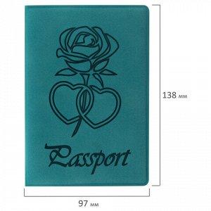"""Обложка для паспорта STAFF, бархатный полиуретан, """"Роза"""", темно-бирюзовая, 237620"""