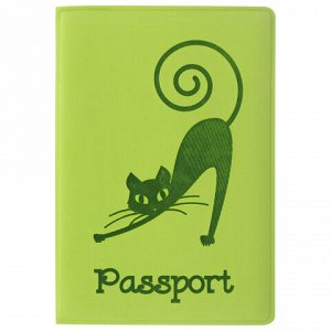 """Обложка для паспорта STAFF, мягкий полиуретан, """"Кошка"""", салатовая, 237614"""