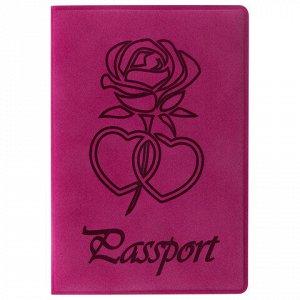 """Обложка для паспорта STAFF, бархатный полиуретан, """"Роза"""", розовая, 237619"""