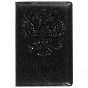 """Обложка для паспорта STAFF, полиуретан под кожу, """"ГЕРБ"""", черная, 237602"""