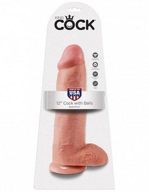 Огромный фаллос на присоске King Cock 12'' Cock with Balls
