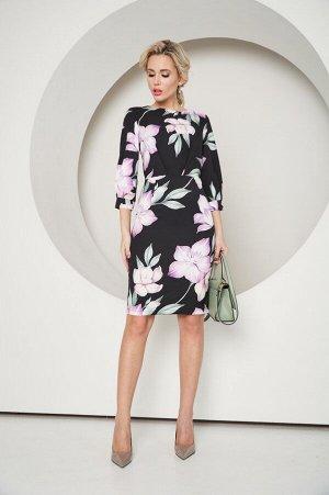 Платье Даниэлла №15 .Цвет:черный/цветы