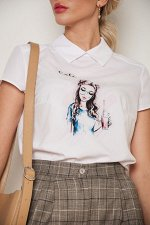 Блузка Лариса №9.Цвет:белый/коктейль