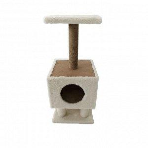 Домик для животных на столбиках-ножках, 35 х 35 х 81 см, джут, бежевый