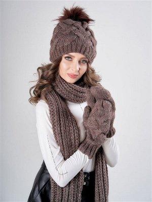 Комплект Фрея с шарфом варежками, 1373/6 Темно-коричневый 56-58