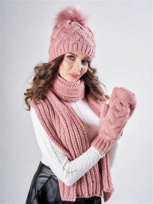 Комплект Фрея с шарфом варежками, 1373/5 Пудровый 56-58
