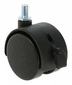 Колесо мебельное, d=50 мм, с футоркой, с тормозом, черный пластик