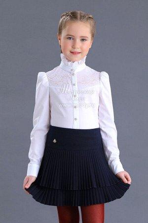 Блузка ДЛ рук,кокетка кружево,ворот декорирован рюшами блузочн.хлопок м.Леди
