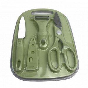 Доска разделочная с ножом(+чехол), ножницы, овощечистка