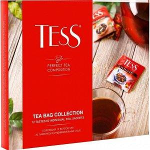 Tess Коллекция чая и чайных напитков в пакетиках, 12 видов (60 шт)