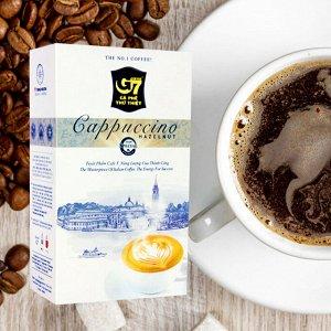 Растворимый кофе  фирмы «TrungNguyen» «G7»  капучино 3в1: - СО ВКУСОМ ЛЕСНОГО ОРЕХА. Состав: кофе, сахар, сливки. В 1 упаковке 12 пакетиков по 18 грамм.
