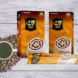 Растворимый кофе  фирмы «TrungNguyen» «G7»  капучино 3в1: - СО ВКУСОМ МОККО. Состав: кофе, сахар, сливки. В 1 упаковке 12 пакетиков по 18 грамм.