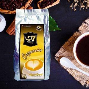 Растворимый кофе  фирмы «TrungNguyen» «G7»  капучино 3в1: - СО ВКУСОМ ЛЕСНОГО ОРЕХА. Состав: кофе, сахар, сливки. В 1 упаковке 500 грамм.