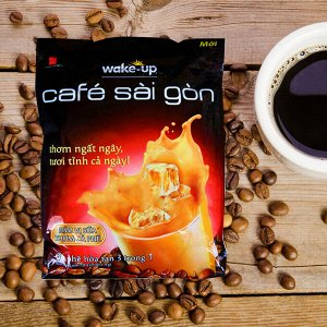 Растворимый кофе  фирмы «Vinacafe». «Wake-up» со вкусом карамели 3в1  Состав: кофе, сахар, сливки. В 1 упаковке 24 пакетикапо 19гр