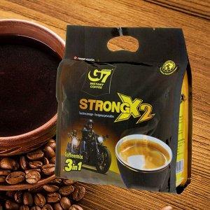 Растворимый кофе  фирмы «G7». «STRONG X2» 3в1  Состав: кофе, сахар, сливки. В 1 упаковке 24 пакетика по 25гр