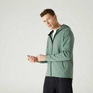 Толстовка для фитнеса мужская на молнии с капюшоном Spacer 540 зеленая NYAMBA