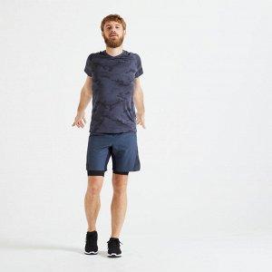 Футболка для фитнеса и кардиотренировок мужская slim 500 серая DOMYOS