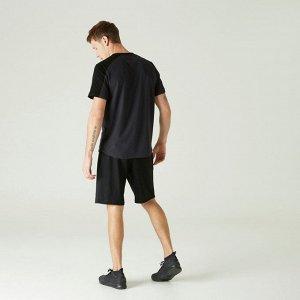 Футболка для фитнеса мужская хлопковая эластичная серо-черная NYAMBA