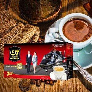 Растворимый кофе  фирмы «TrungNguyen» «G7» 3в1  Состав: кофе, сливки, сахар.  В 1 упаковке 21 пакетик по 16 грамм.