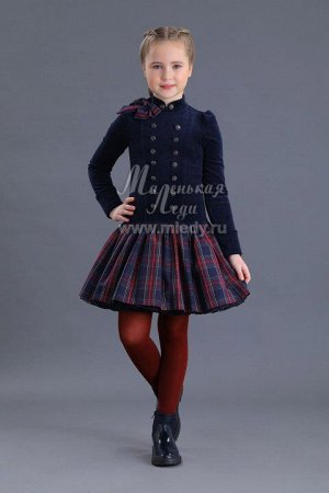 Платье,из велюра(верх) +юбка шотланка на пышном подъюбнике  м.Леди