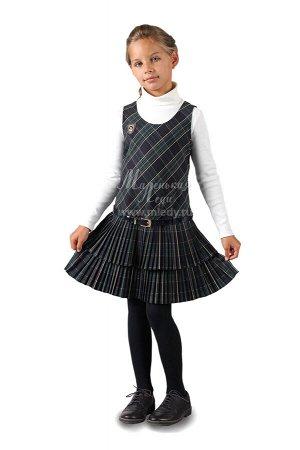 Сарафан в клетку,занижен.талия,юбка 2-х ярусн плиссе +ремень м.Леди