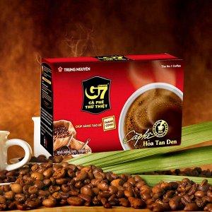 Растворимый кофе  фирмы «TrungNguyen» Чёрный кофе «G7»  В 1 упаковке 15 пакетиков по 2 грамма.