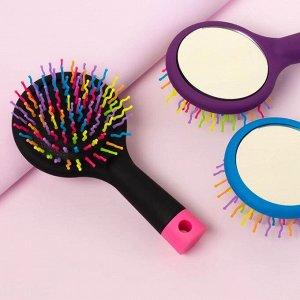 Расчёска массажная, с зеркалом, цвет МИКС 1390096