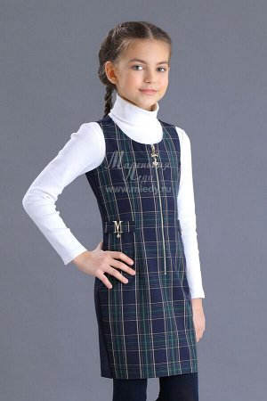Сарафан-футляр,т-ж костюмный, спереди на молнии,декоративные хлястики  м.Леди