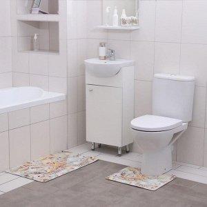Набор ковриков для ванны и туалета Доляна «Ракушки», 2 шт: 40?45, 45?75 см
