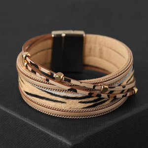 """Браслет ассорти """"На магните"""" узор тигра, цвет бежево-коричневый в золоте, 19,5 см"""